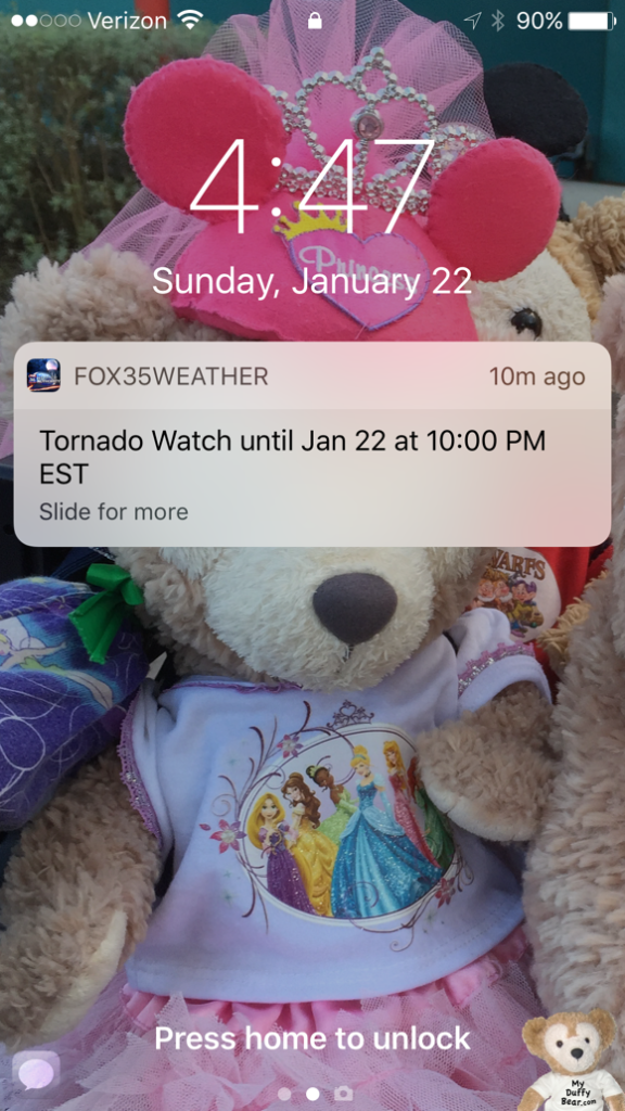 Duffy the Disney Bear receives an alert on his iPhone about a tornado warning