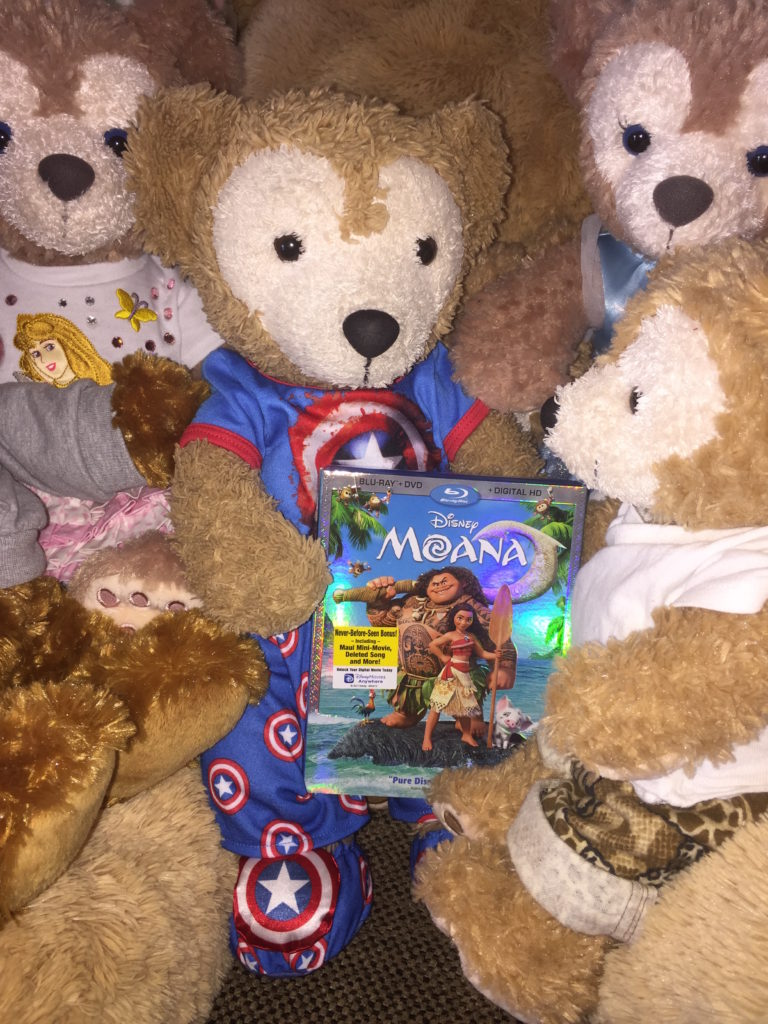 Duffy the Disney Bear get the Moana BluRay DVD pack as a get well gift