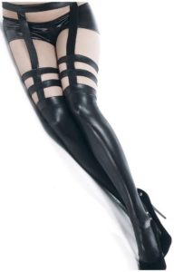 Wet look strappy stockings with garter belt