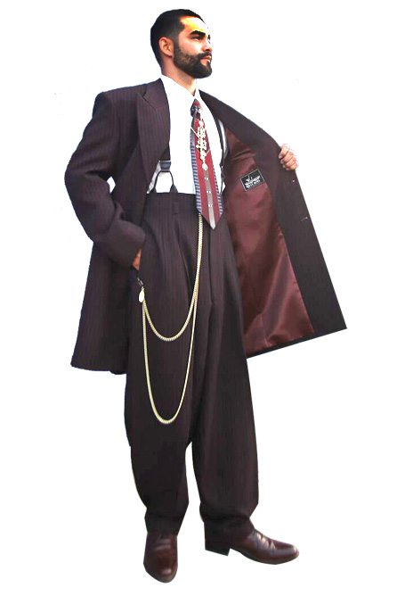 Chocolate Brown Pinstripes Zoot Suit