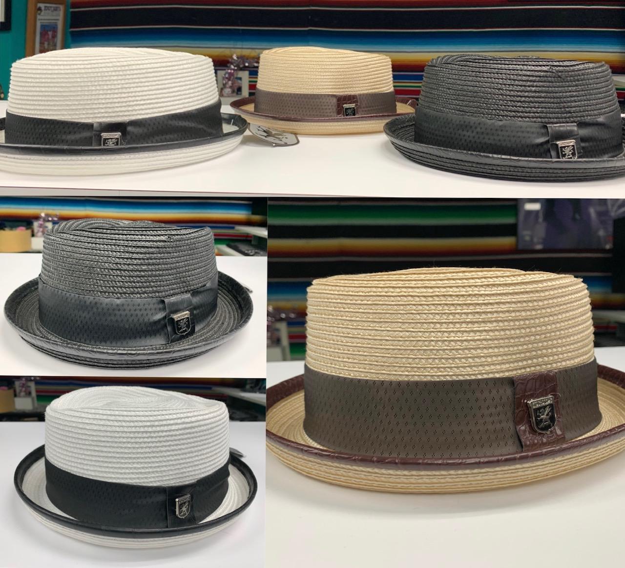 Straw Diamond Top Porkpie Hat