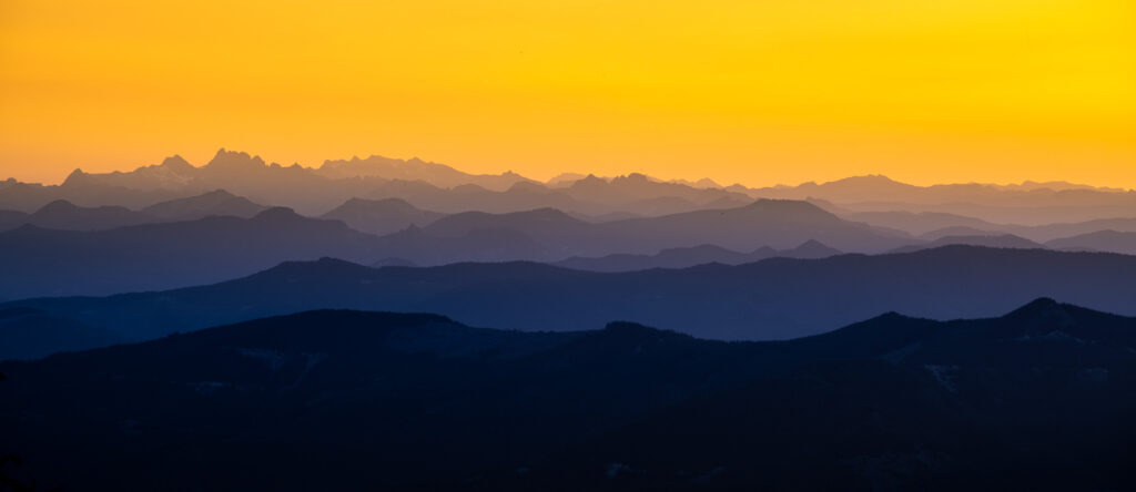 Mountain layers just before sunrise