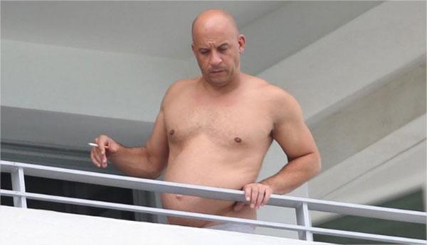 Vin Diesel se dejó ver sin camisa y sorprendió con una abultada barriga