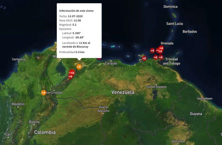 Sismo de 5,2  sacudió Venezuela