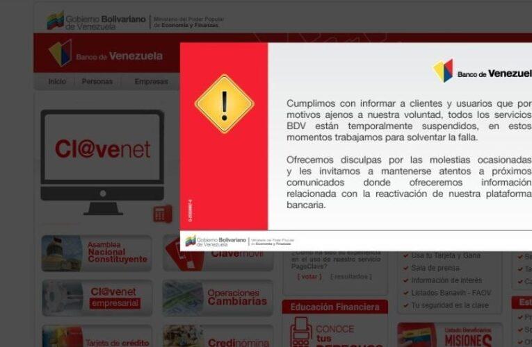 Plataforma del Banco de Venezuela está suspendida