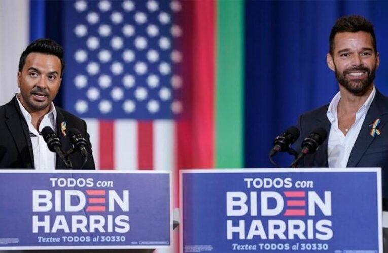 Ricky Martin y Luis Fonsi piden apoyar a Biden