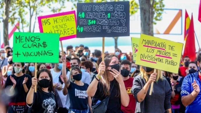 Manifestaron en Madrid contra la cuarentena
