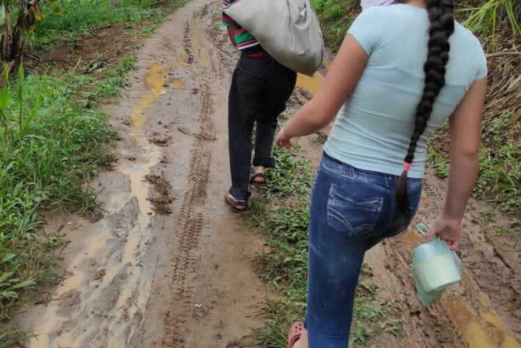 La vía en Paso de Caballo en Carayaca es puro pantano