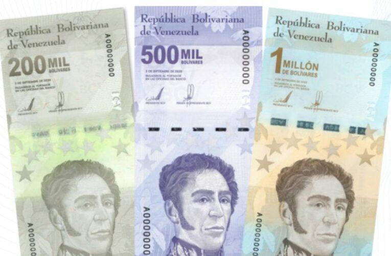 Este lunes 8 entran en circulación billetes de Bs.S. 200.000, 500.000 y 1.000.000