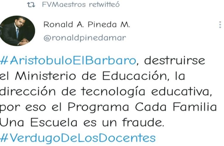 """""""Gestión hambreadora» de Aristóbulo Istúriz fue rechazada con tuitazo por la FVM"""