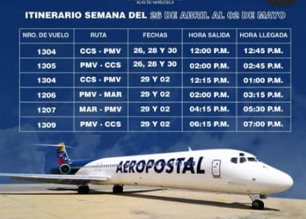 Aeropostal anuncia sus vuelos para la próxima semana