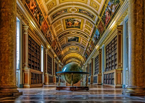 big library with gold accents