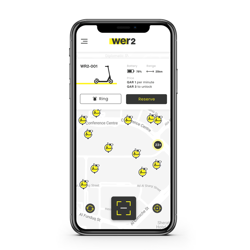 Download the wer2 app to find available scooter.