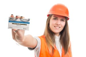 Woman Construction Worker with OSHA 10hr Safety Card