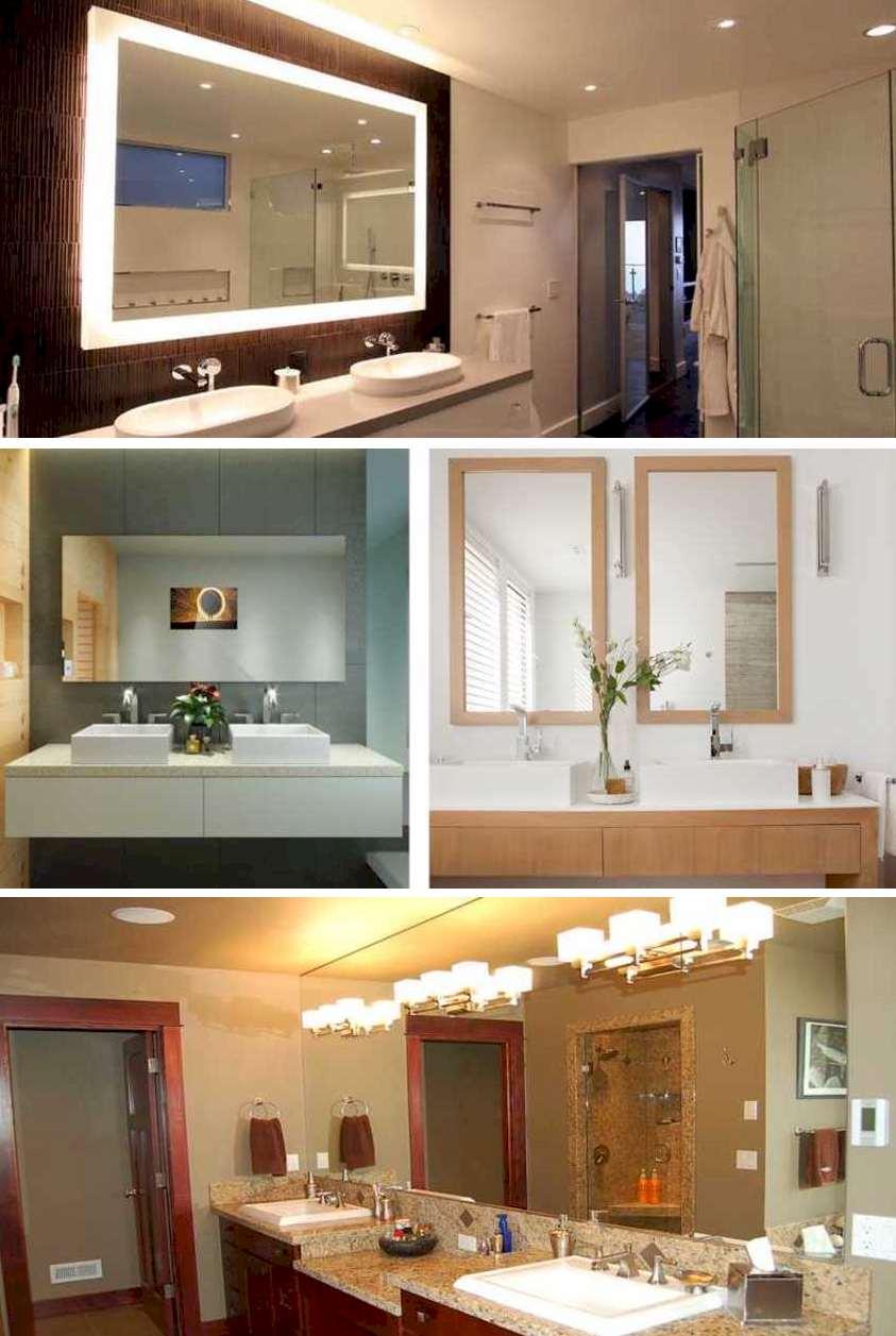 Decora baños con espejos iluminados con estilo