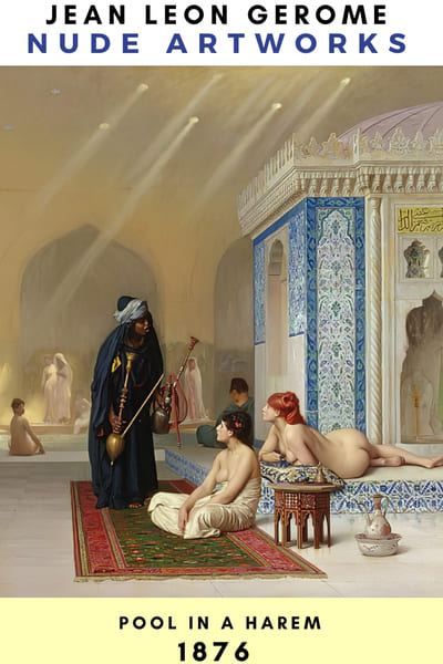 Jean Leon Gerome Nude Painting Poster - Pool in a Harem 1876