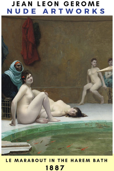 Jean Leon Gerome Nude Painting Poster - 1887 Harem bath