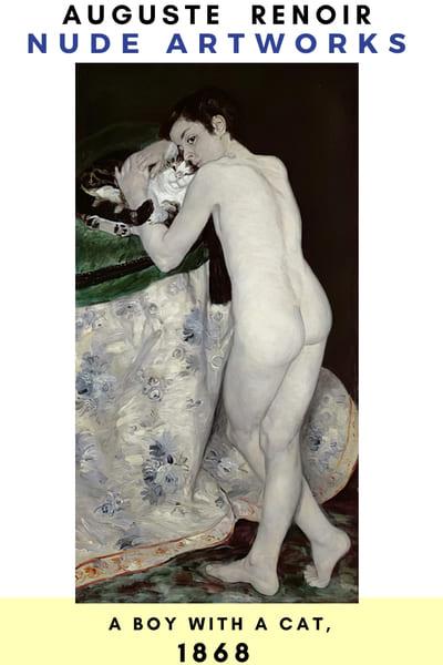 Auguste Renoir Artworks - A Boy with CAT 1868 - #painting #Reonir #art #paint