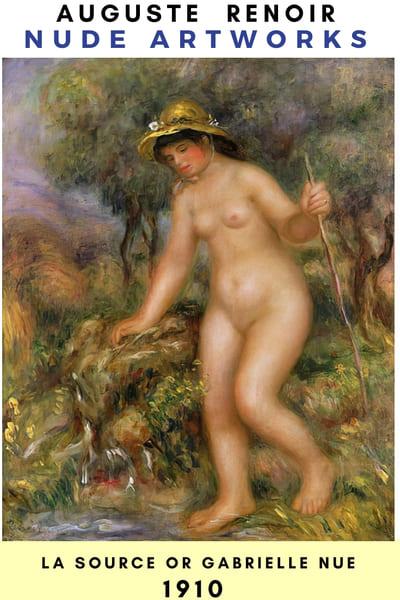 Auguste Renoir Artworks - La Source or Gabrielle nue  1910    --- #painting #Reonir #art #paint