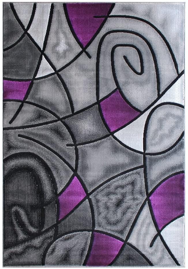 Masada Rugs  Modern Contemporary Area Rug, Purple Grey Black (8 Feet X 10 Feet)