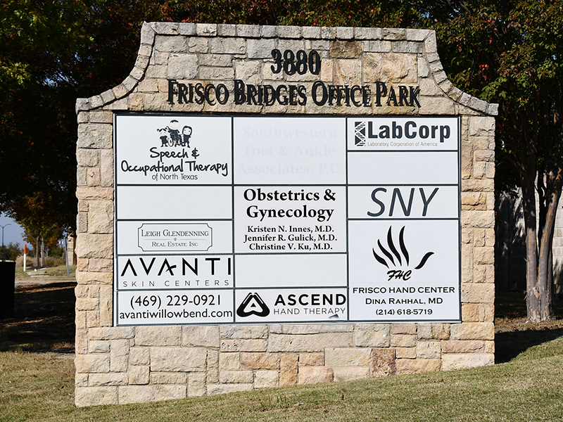 3880 Parkwood Boulevard Park Entry Sign to Frisco Hand Center