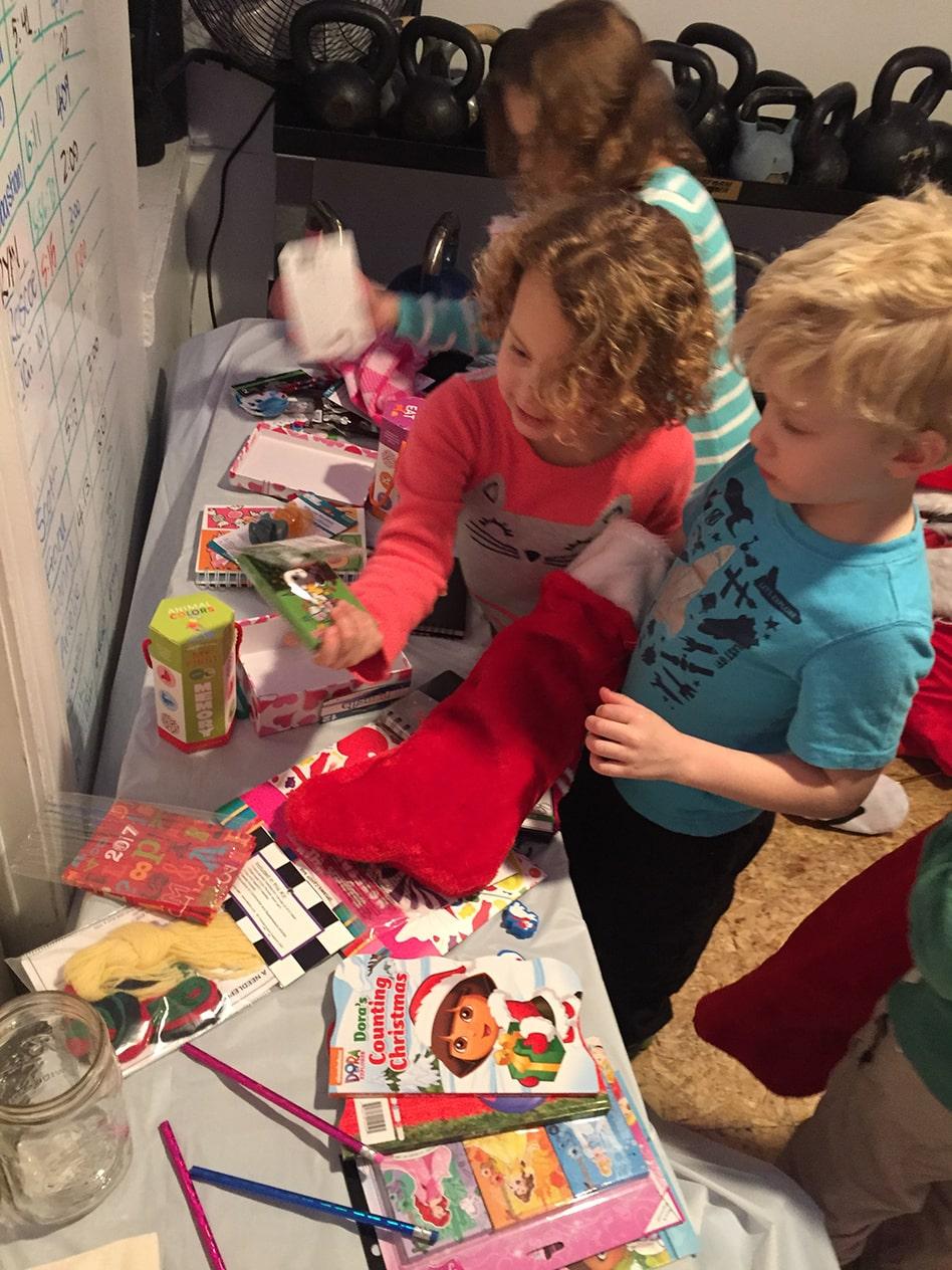Kids Filling Stockings