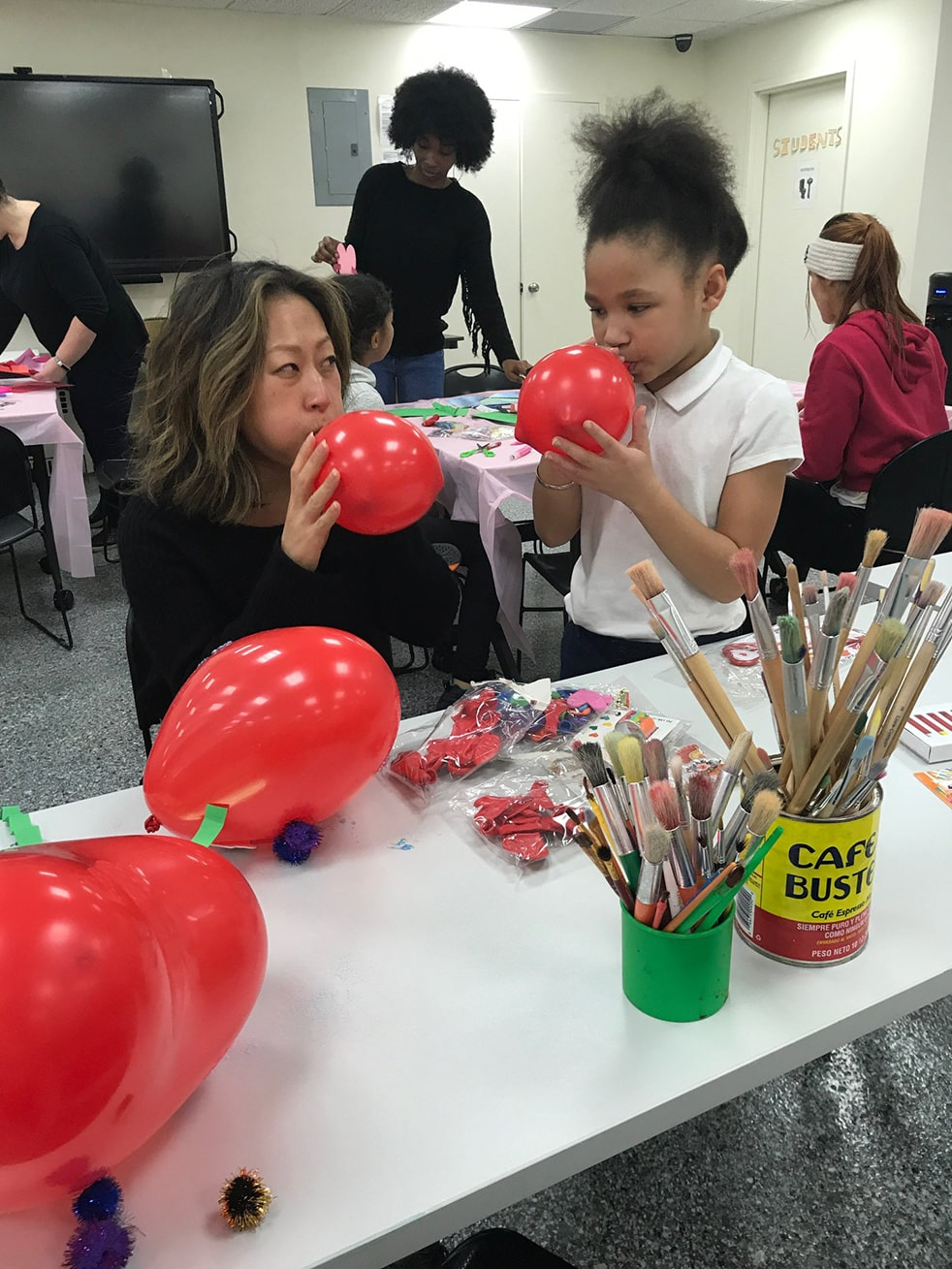 Valentine day party with donations from Mom's Christmas Stocking