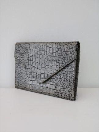 """""""Danier"""" Purse - Silver Snake Print Envelope Bag / Clutch"""