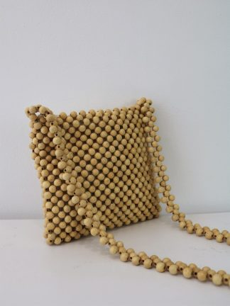 70's Wooden-Bead Purse with Long Straps