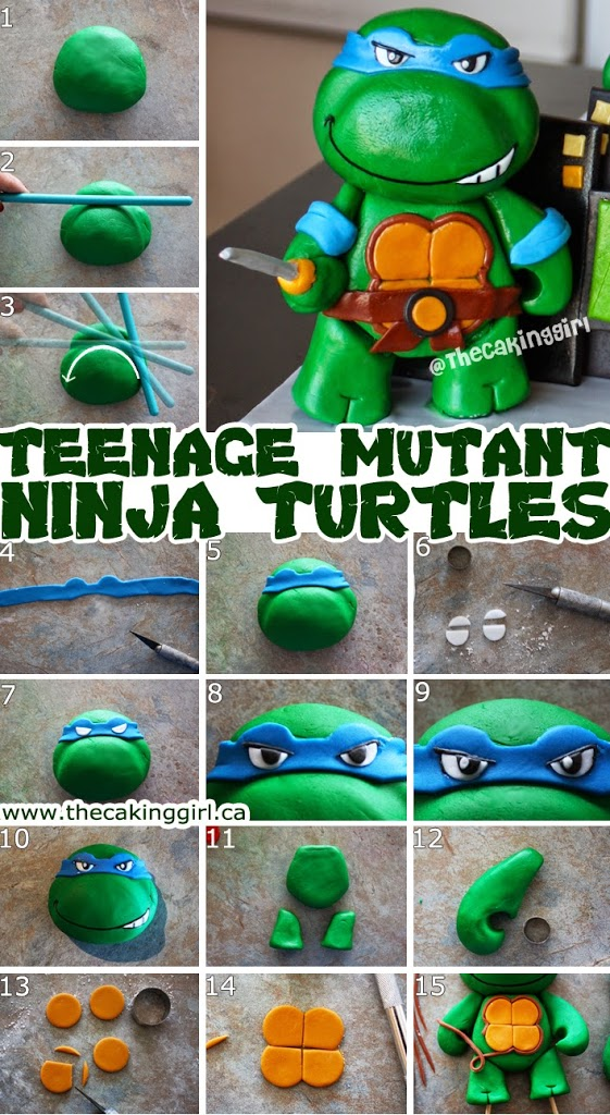 how to make ninja turtle figurine gumpaste diy