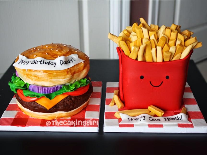 fastfood hamburger fries cake