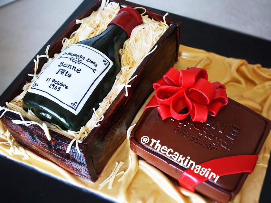 Corné Port-Royal chocolate cake, wine bottle cake