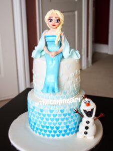 pretty frozen elsa olaf birthday cake