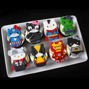 hello kitty superhero theme cupcakes