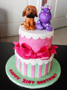 cute hippo figurine dog figurine cake topper