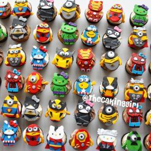 minion and hello kitty superhero themed cupcakes thor wolverine