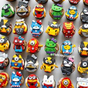 superhero theme hello kitty minion cupcakes iron man batman