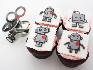 cute robot cupcake toppers