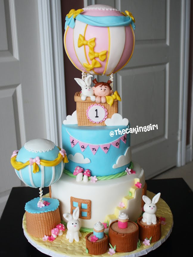 hot air balloon fondant cake