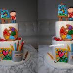 artist kids birthday cake fondant