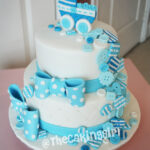 baby blue buttons bow tie baby shower cake