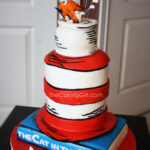 cat in the hat dr. suess tier birthday cake