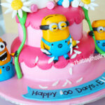 pink girl despicable me minions figurine birthday cake