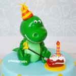 dinosaur t-rex birthday fondant cake