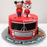 paw patrol marshall fondant birthday cake for kids
