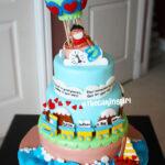 hot air balloon, 3 tier travel theme cake