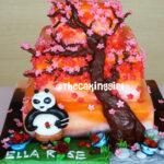3 tier kungfu panda birthday cake blossom tree scene