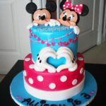 2 tier mickey mouse minnie mouse fondant cake