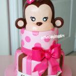 monkey pink birthday cake