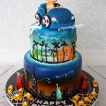 new york miami travel theme birithday cake